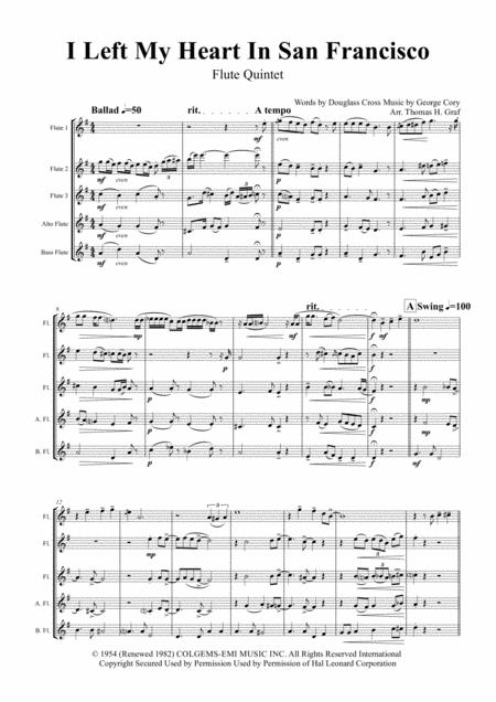 I Left My Heart In San Francisco - Tony Bennett - Flute Quintet