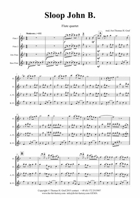 Sloop John B. - Caribian Folk Song - Flute Quartet