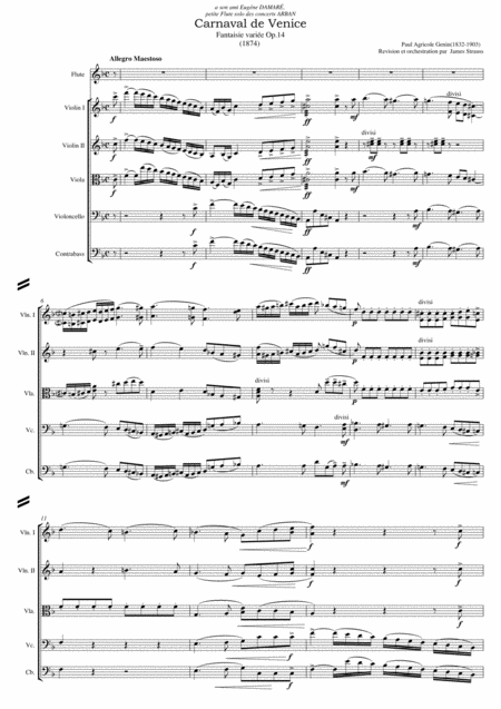 Le Carnival de Venice - Fantaisie and Variations op.14 for  flute and String Orchestra