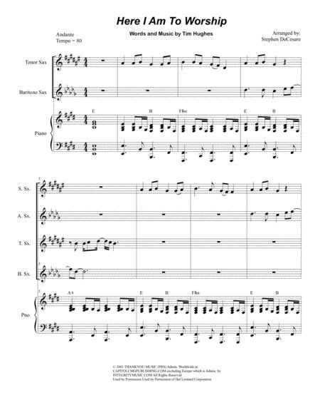 Here I Am To Worship (for Saxophone Quartet)
