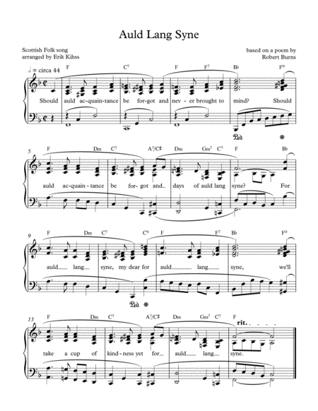Auld Lang Syne - intermediate piano solo