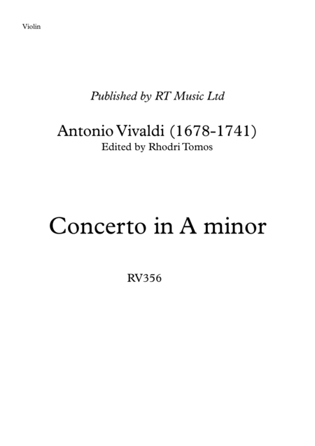 Vivaldi RV356 Concerto in A minor - solo violin & trumpet parts