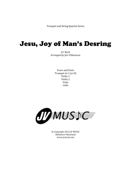 Jesu, Joy of Man's Desiring for Trumpet and String Quartet