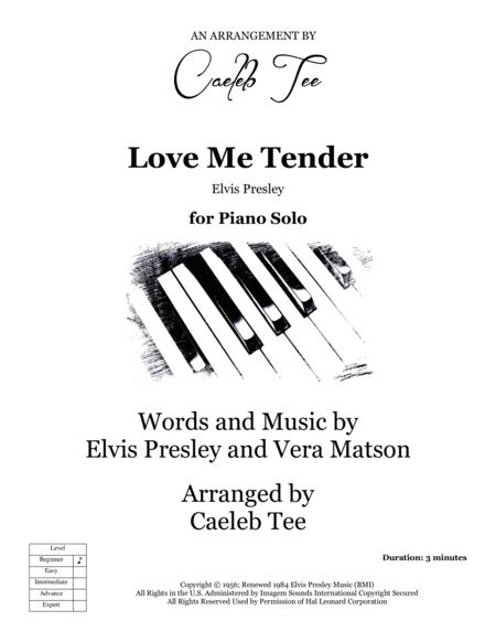 Love Me Tender - beginner piano solo arranged by Caeleb Tee