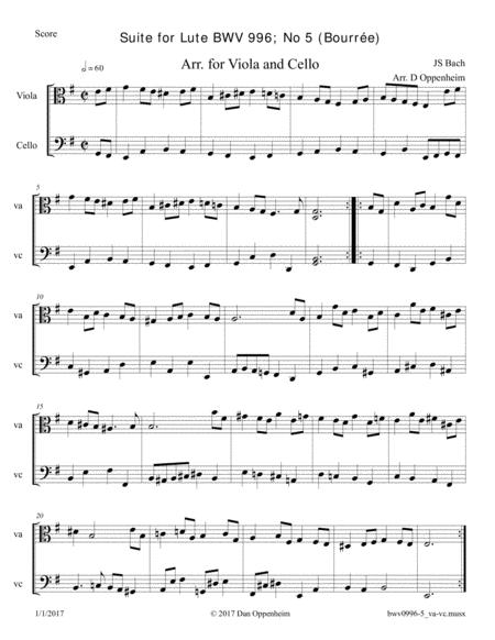 Bach: Sonata for lute BWV 996 no. 2, Bourrée, arr. for Viola and Cello