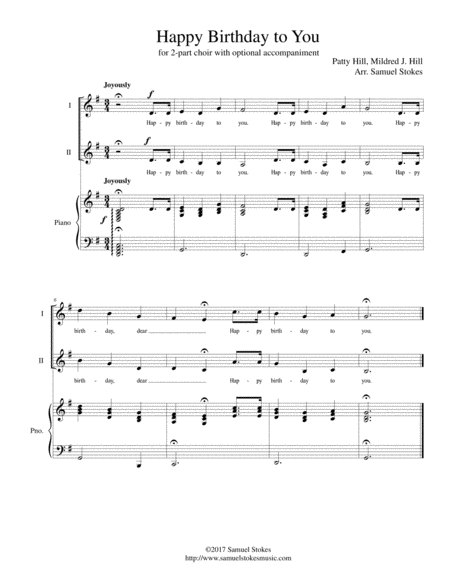 Happy Birthday to You - for 2-part choir with piano accompaniment