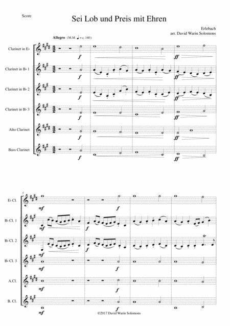 Sei Lob und Preis mit Ehren for clarinet sextet or clarinet choir