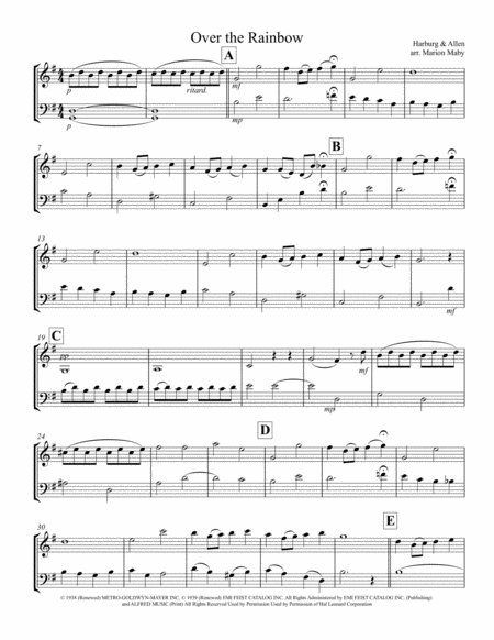 Over The Rainbow (from The Wizard Of Oz) for Violin & Cello Duet