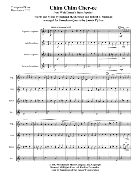 Chim Chim Cher-ee from Walt Disney's MARY POPPINS (SATB or AATB saxophone quartet version)