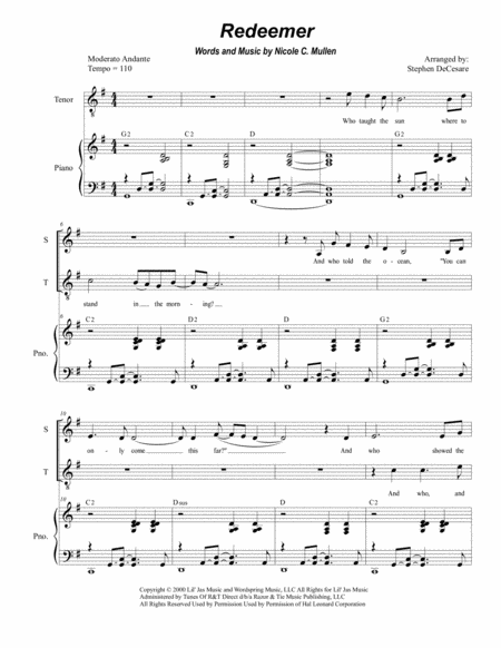 Redeemer (Duet for Soprano and Tenor Solo)