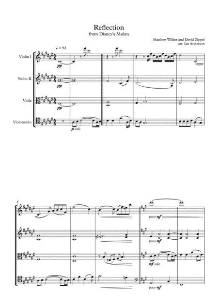 Reflection from Disney's Mulan (string quartet)