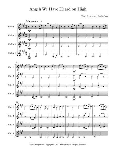 Angels We Have Heard On High (4 Violins)