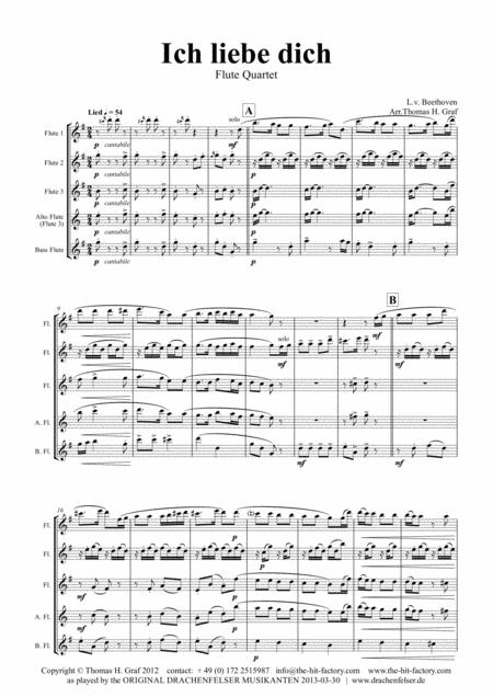 Ich liebe dich - Beethoven goes Polka - Flute Quartet