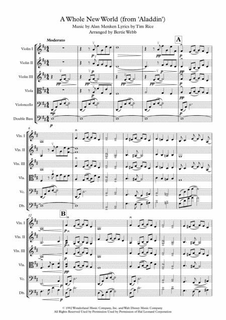 A Whole New World (from 'Aladdin') - String Orchestra (Quartet, Quintet, Sextet)