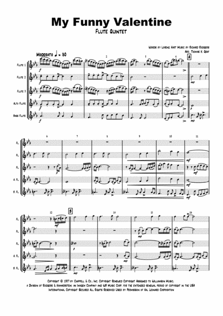 My Funny Valentine - Jazz Ballad - Flute Quintet