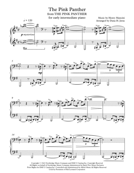The Pink Panther for early intermediate piano