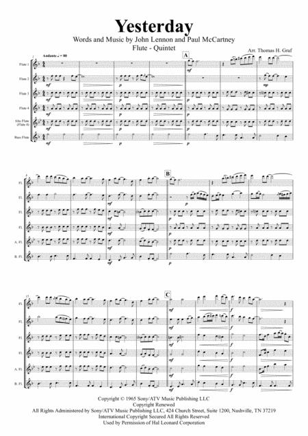 Yesterday - Beatles Classic - Flute Quintet