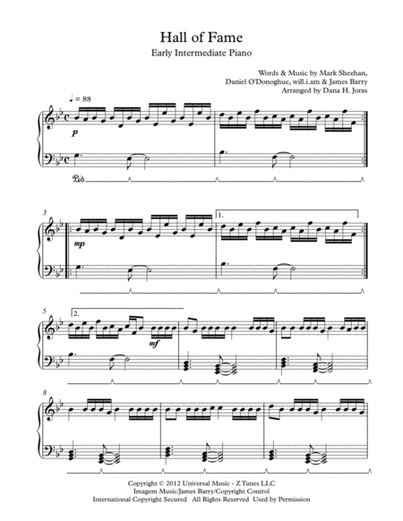 Hall Of Fame for Early Intermediate Piano