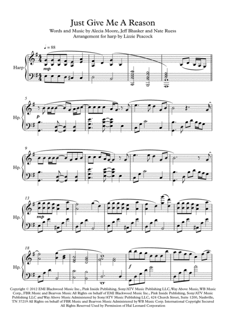 Just Give Me A Reason - Pedal Harp Solo
