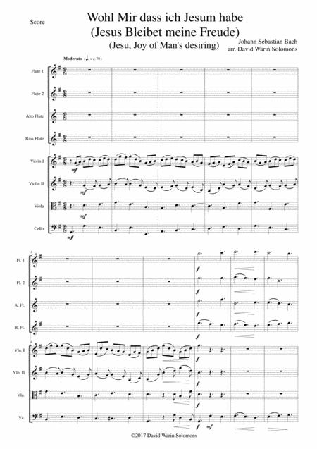 Wohl mir dass ich Jesum habe (Jesus bleibet meine Freude -Jesu joy of man's desiring) for flute quartet and strings