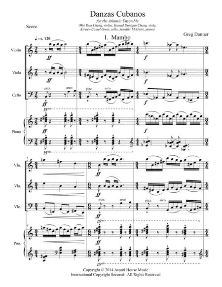 Danzas Cubanos, for piano quartet