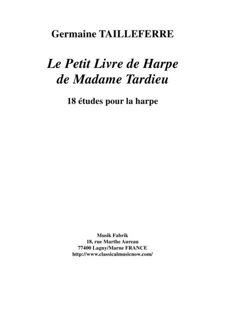 Germaine Tailleferre:  Le Petit Livre de Harpe de Madame Tardieu, 18 études for the harp