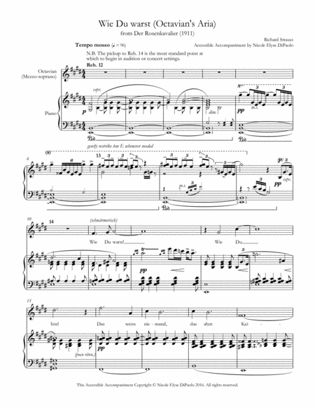 Wie Du warst (Octavian's Aria) from Der Rosenkavalier - Accessible Accompaniments Edition