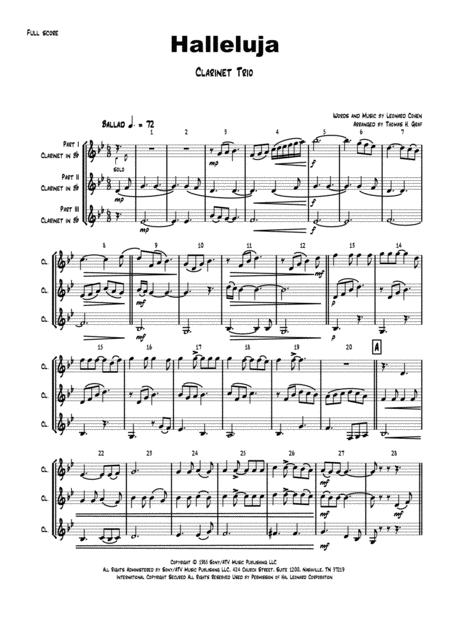 Halleluja - sophisticated arrangement of Cohen's Classic - Clarinet Trio
