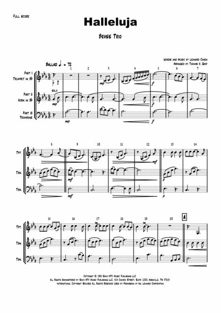 Halleluja - sophisticated arrangement of Cohen's Classic - Brass Trio High