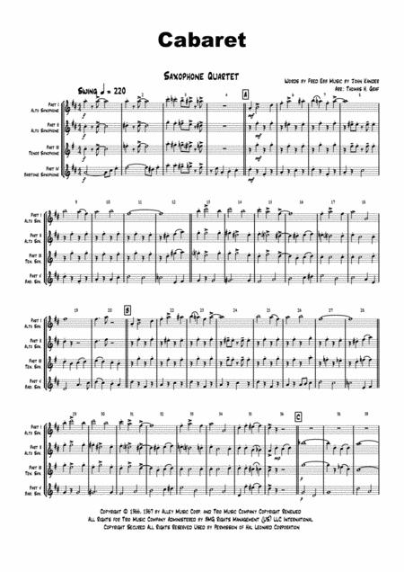 Cabaret - Jazz - Liza Minelli - Saxophone Quartet