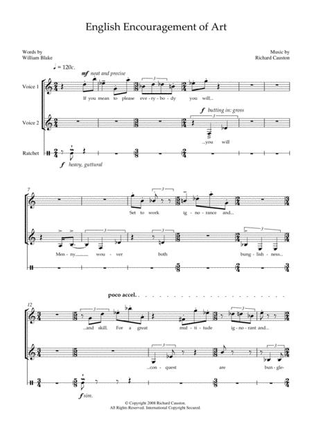 English Encouragement of Art (for soprano, mezzo-soprano and percussion)