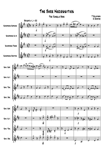 The Bare Necessities for SAX Quartet (SATB)