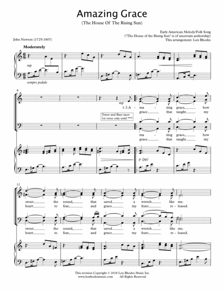 Amazing Grace (The House Of The Rising Sun) - SATB Choir and Piano