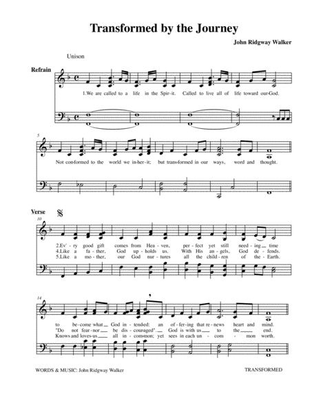 Transformed by the Journey (unison hymn with organ version)