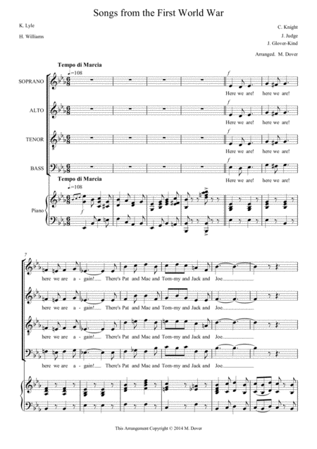 Songs from the First World War - Medley - SATB