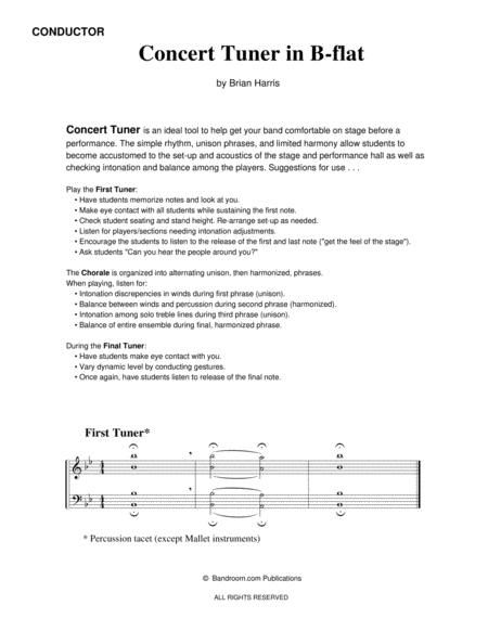 Concert Tuner in B-flat (concert band warm up; very easy; score & parts & license to photocopy )