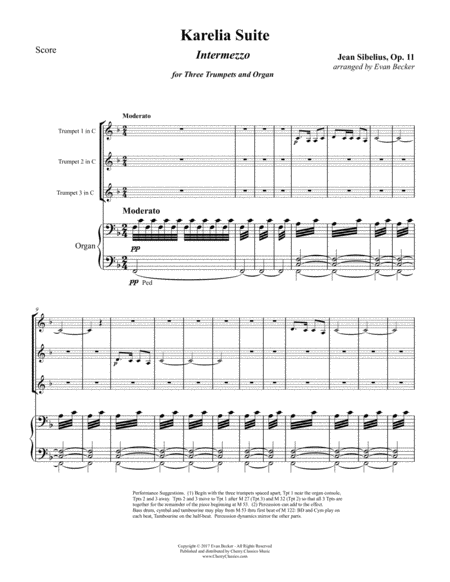 Intermezzo from the Karelia Suite for Three Trumpets and Organ