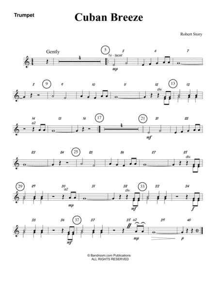 CUBAN BREEZE (beginner concert band - super easy - score, parts, and license to photocopy)