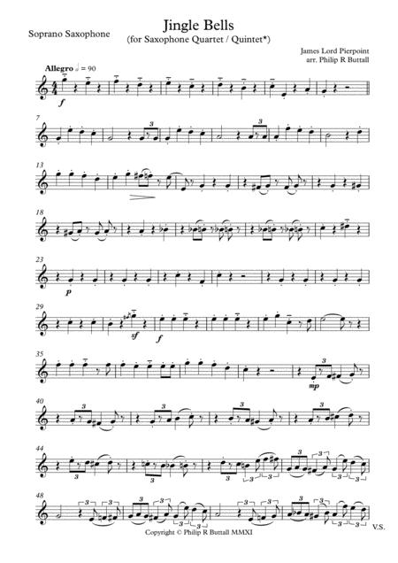Jingle Bells (Saxophone Quartet / Quintet) - Set of Parts [x4 / 5]