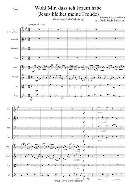 Wohl mir dass ich Jesum habe (Jesus bleibet meine Freude - Jesu joy of man's desiring) for brass quartet and strings