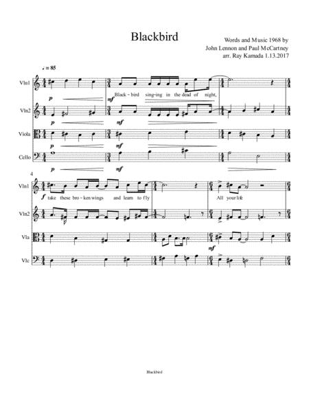 Blackbird, for String Quartet