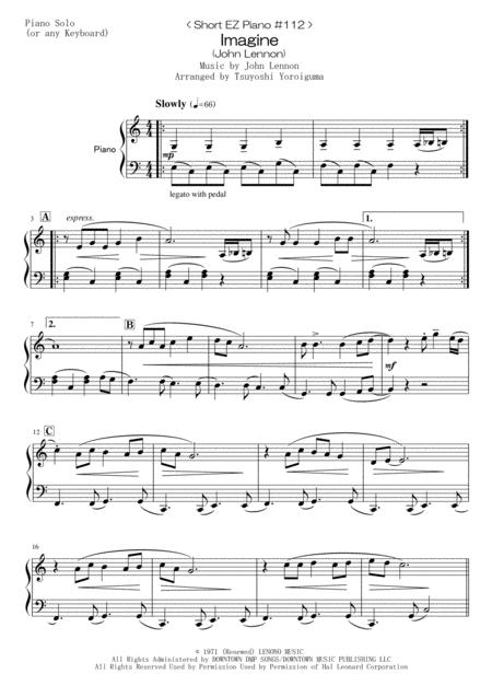 < Short EZ Piano #112 > Imagine (John Lennon)