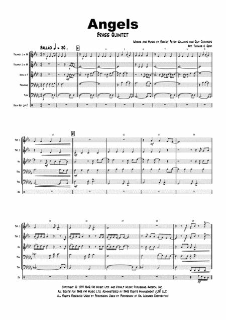 Angels (Db-Major) - Robby Williams - Brass Quintet