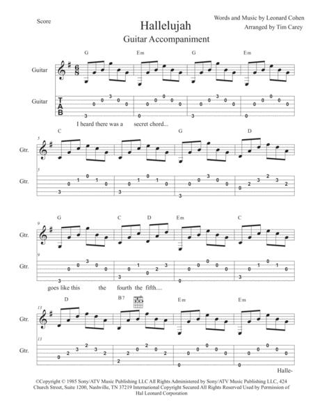 Hallelujah - Guitar Accompaniment w TAB