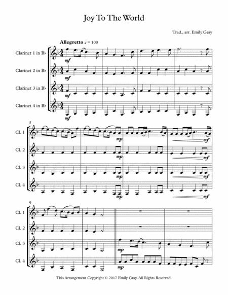 Joy To The World (4 Clarinets)