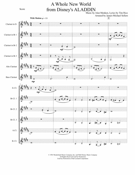 A Whole New World (from 'Aladdin') (for Clarinet Choir)
