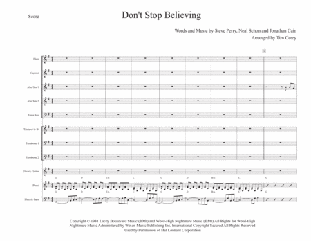 Don't Stop Believin' - Small Jazz Band or Large Combo