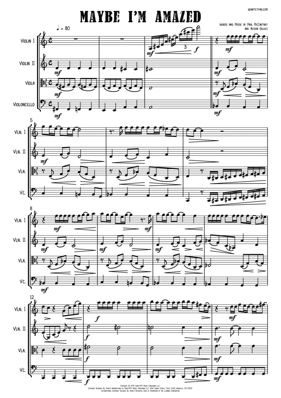 Maybe I'm Amazed - String Quartet