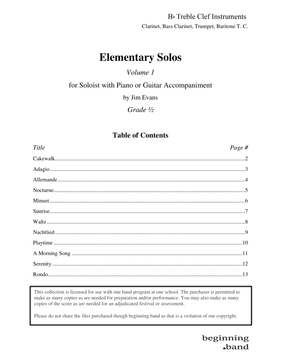 Elementary Solos Series, Volume 1