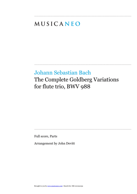 The Complete Goldberg Variations for flute trio